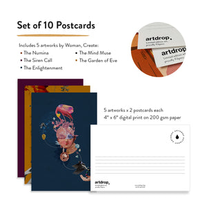 Woman Create Postcard Set