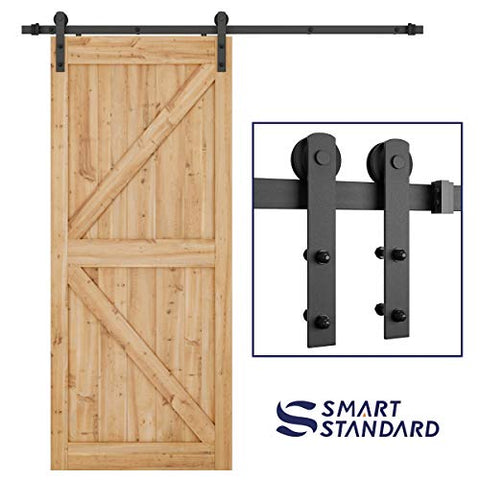 "6.6ft Heavy Duty Sturdy Sliding Barn Door Hardware Kit -Smoothly and Quietly -Easy to install -Includes Step-By-Step Installation Instruction Fit 36""-40"" Wide Door Panel (I Shape Hanger) - -"