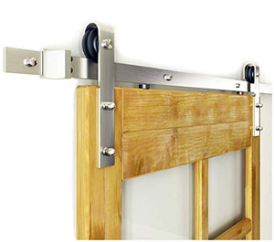 6FT Nickel Steel Sliding Wood Hardware Brushed Barn Door Track Kit, 6 Feet Single: Home Improvement