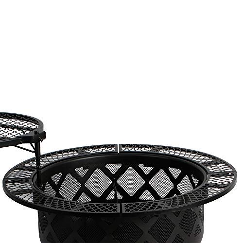 32in Wood Burning Fire Pit Backyard Grill Set, Black, 24in, : Garden & Outdoor