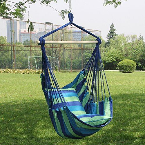 Hanging Rope Hammock Chair Swing Seat for Any Indoor or Outdoor Spaces- Max. 265 Lbs -2 Seat Cushions Included : Garden & Outdoor