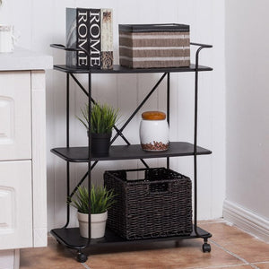 3 Tier Metal Portable Rolling Cart Storage