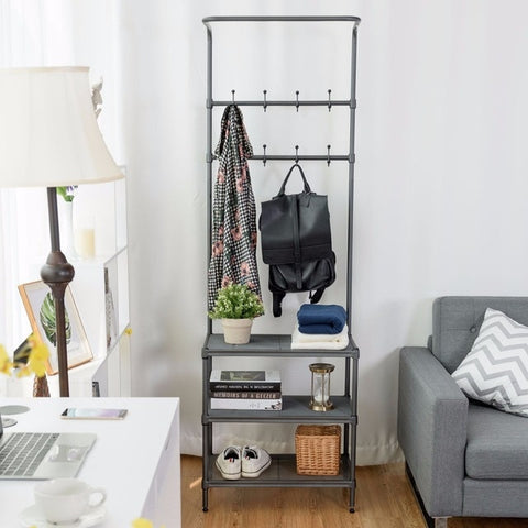 Metal Entryway Coat Hat Shoes Rack 3 Tier