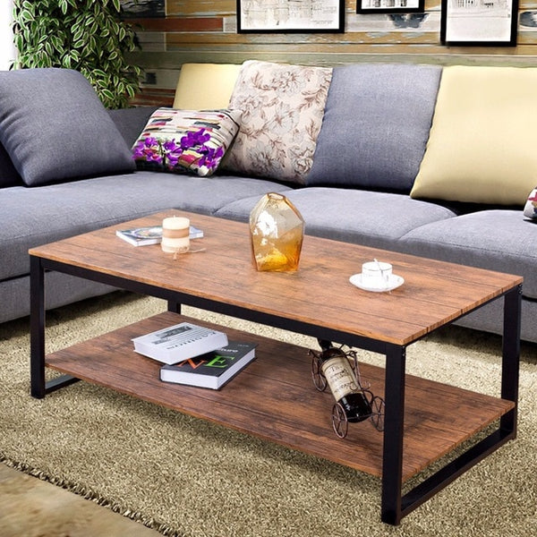Metal Frame Rectangle Coffee Table Accent