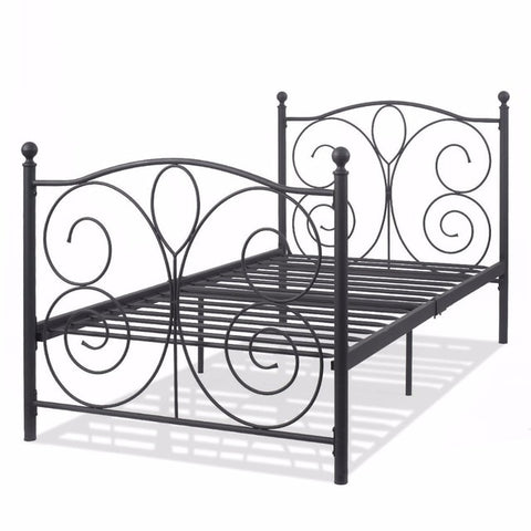Black Steel Twin Size Metal Bed Frame