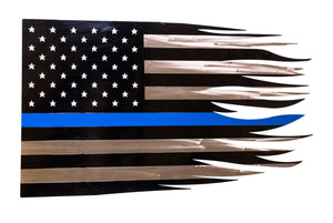 Police Metal Flag Wall Art