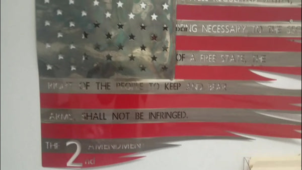 2ND Amendment Metal Flag Wall Art