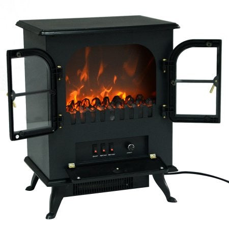 Costway Free Standing Electric 1500W Fireplace Heater Fire Flame Stove Wood Adjustable