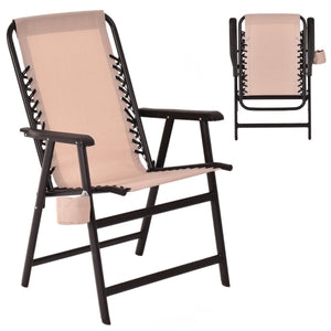 Folding Outdoor Contemporary Arm Chair with Cup Holder-Beige