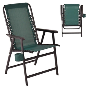 Folding Outdoor Contemporary Arm Chair with Cup Holder-Green