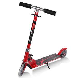 Folding Aluminum LED Light Up Wheels Kids Kick Scooter-Red
