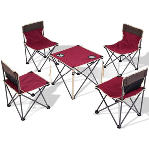 Outdoor Camp Portable Folding Table Chairs Set w/ Carrying Bag-Red