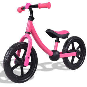 "12"" Classic Kids No-Pedal Learn Bike w/ Adjustable Seat-Pink"