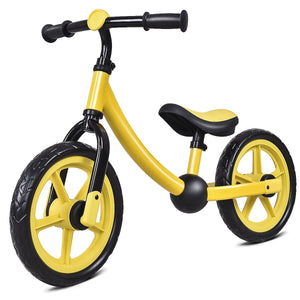 "12"" Classic Kids No-Pedal Learn Bike w/ Adjustable Seat-Yellow"