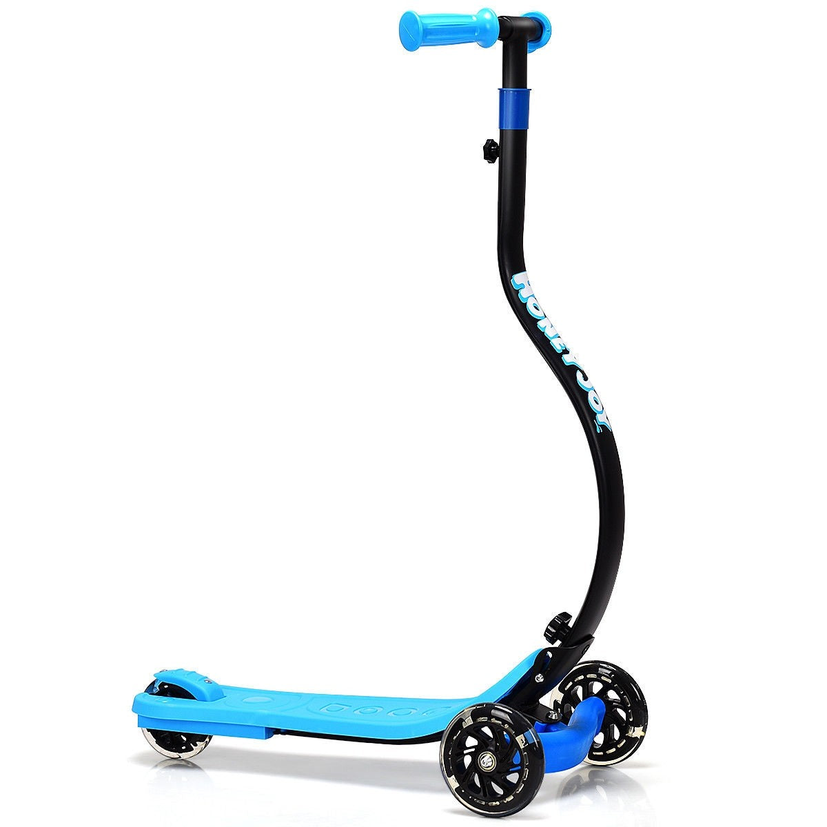 Folding Kids C Shape Anti-Collision Adjustable Kick Scooter -Blue