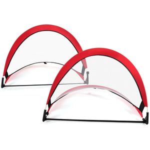 Two Pop Up Soccer Goal Set Foldable Training Football Net-2.5'