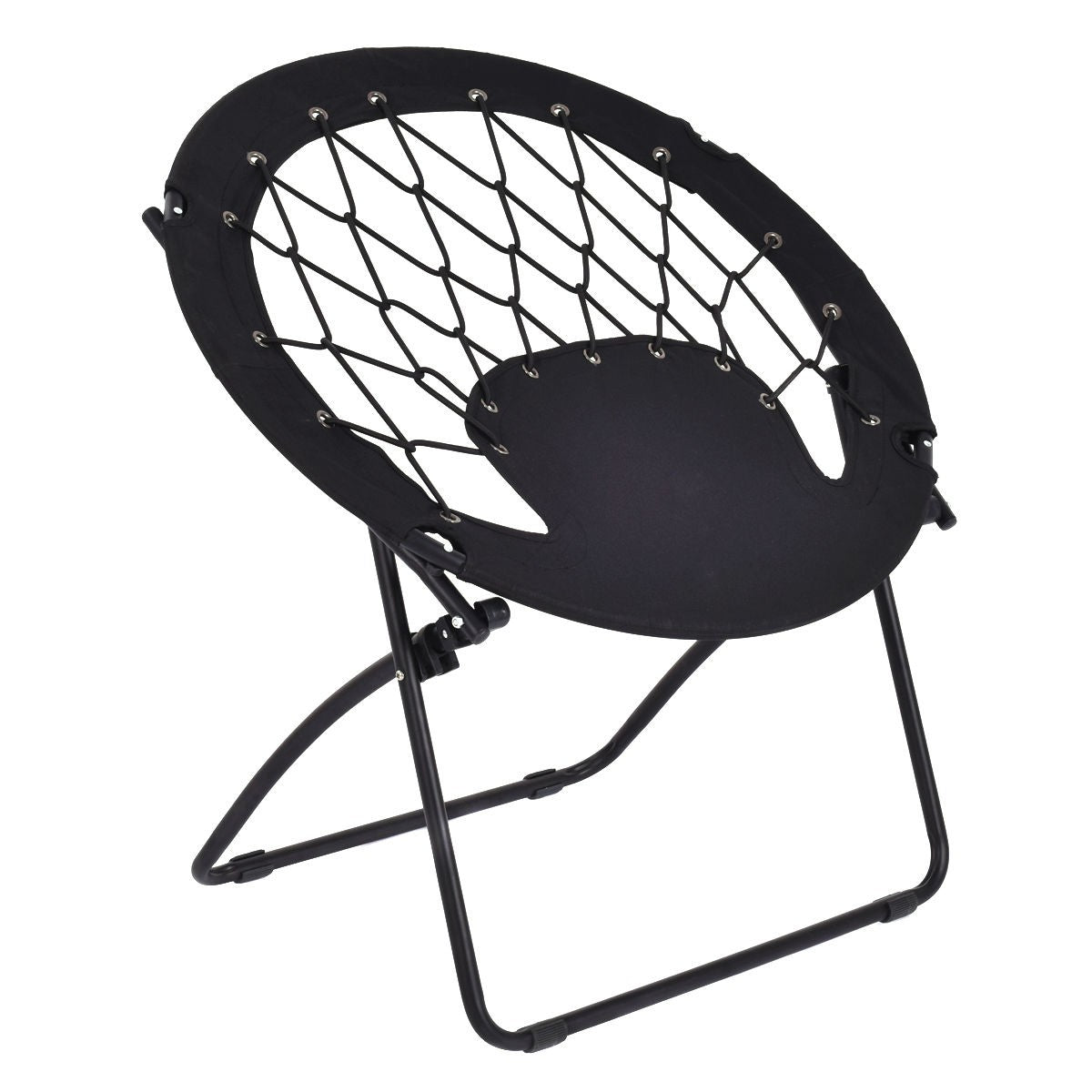Folding Round Bungee Chair Steel Frame Outdoor Camping Hiking Garden Patio-Black