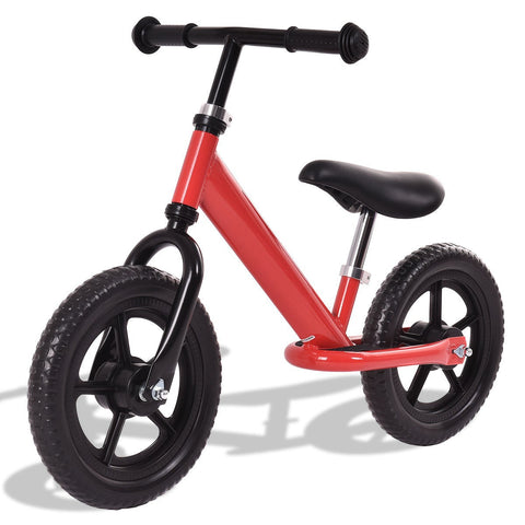 "12"" Kids No-Pedal Bike w/ Adjustable Seat Red"