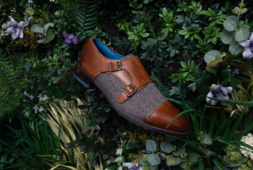Oswin Hyde | Mens leather monk shoes with tweed fabric insert
