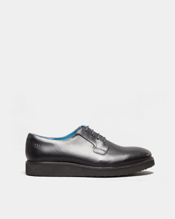 Men's Shoes | Taylor Men's Leather Derby Shoes in Black | Oswin Hyde
