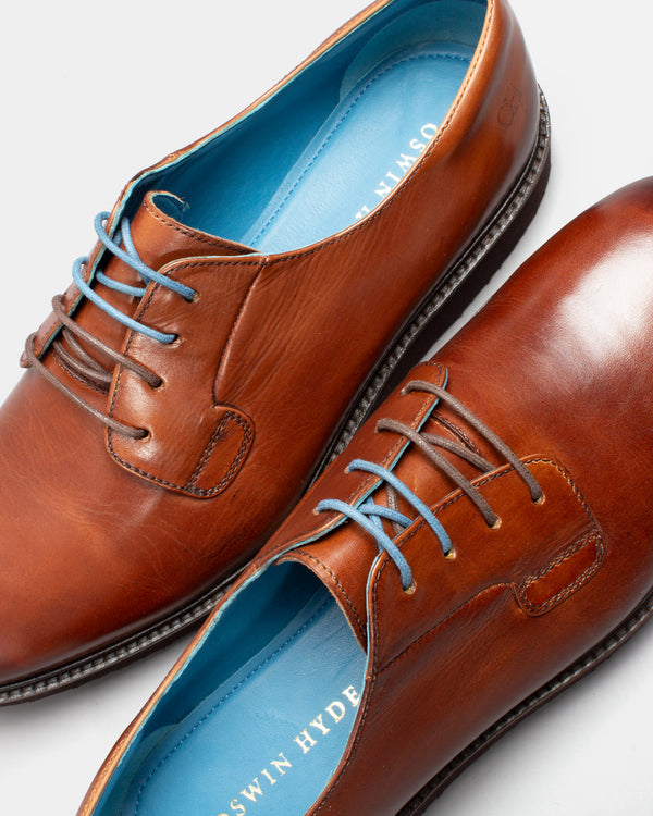 Men's Shoes | Taylor Men's Leather Derby Shoes in Cognac | Oswin Hyde