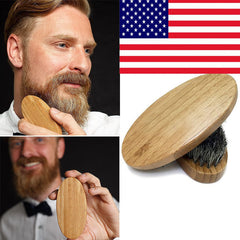 Man Beard Brush Natural Bristle Wood