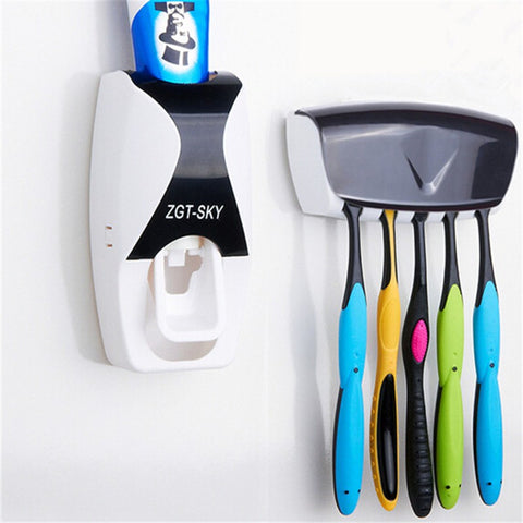 Automatic Toothpaste Dispenser + 5 Toothbrush Wall Rack