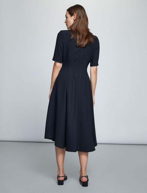 Half Sleeve Zip Collar Midi Dress - Navy/Black