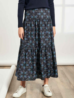 Sylvia Tiered Gathered Maxi Skirt - Navy/Cornflower Floral