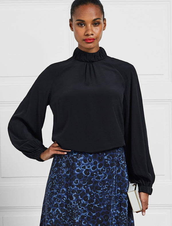 Lauren Silk Gathered Funnel Neck Blouse - Black