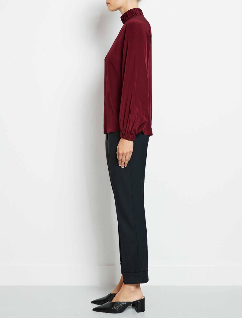 red funnel neck blouse