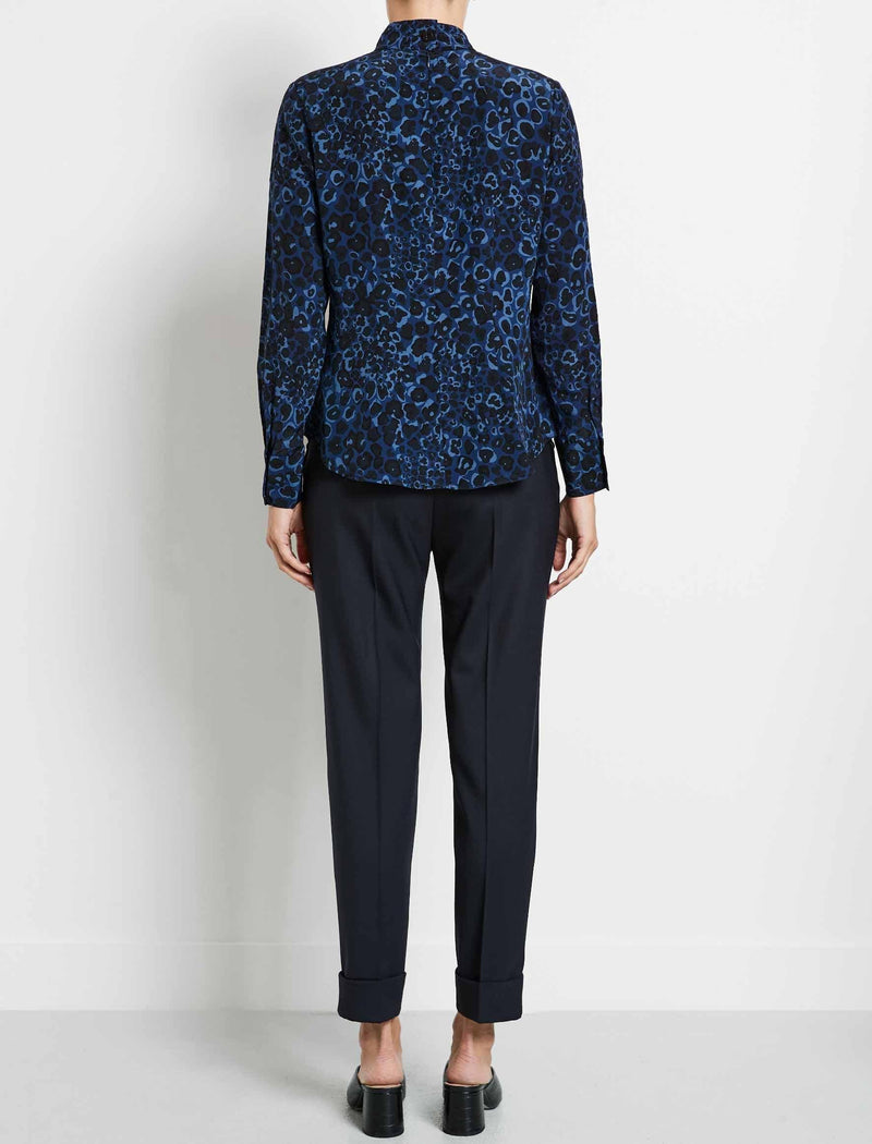 Riley Silk Funnel Neck Blouse - Cobalt Leopard Pansy