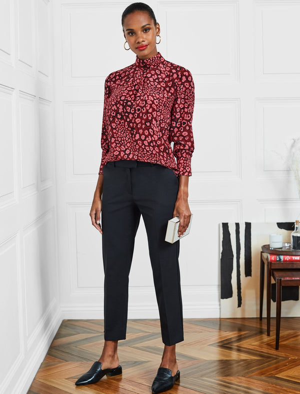 Riley Silk Funnel Neck Blouse - Rose Leopard Pansy