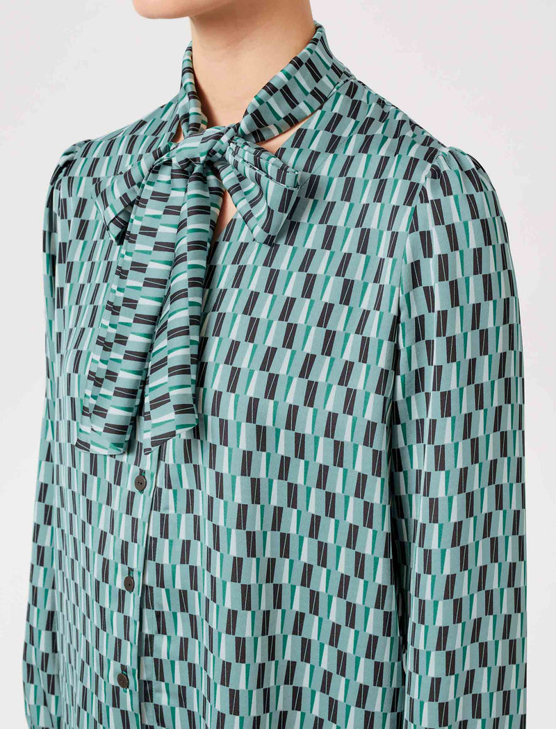 green geo print shirt for women