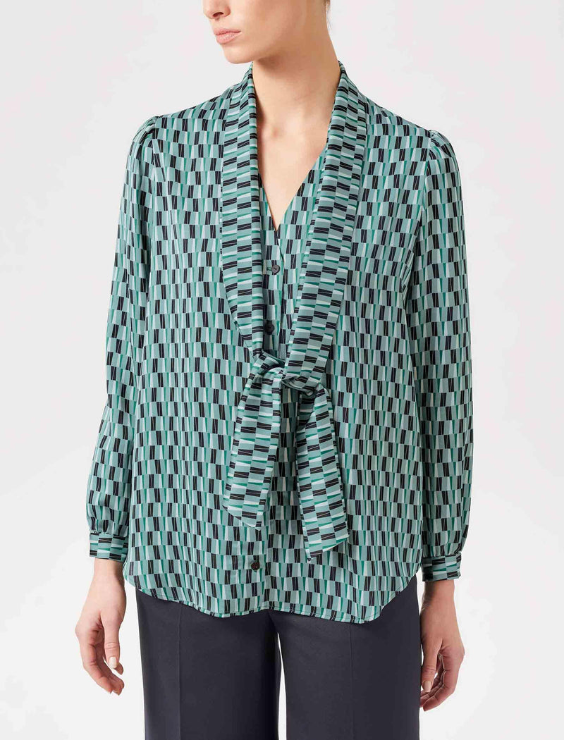 geo print shirt with scarf