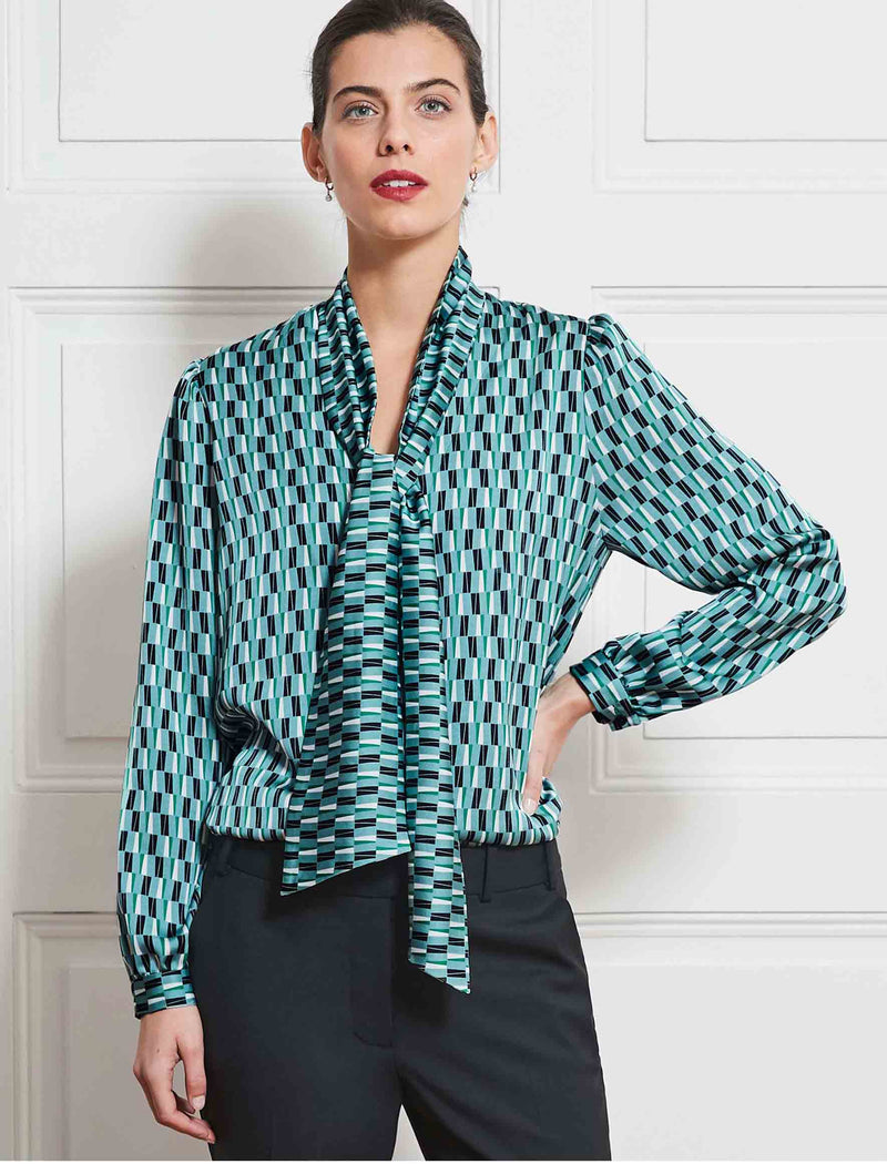 v neck shirt with mint scarf