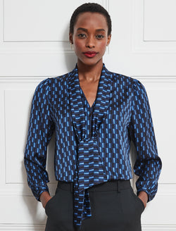 Simone V-Neck Shirt With Scarf - Navy Geo Print