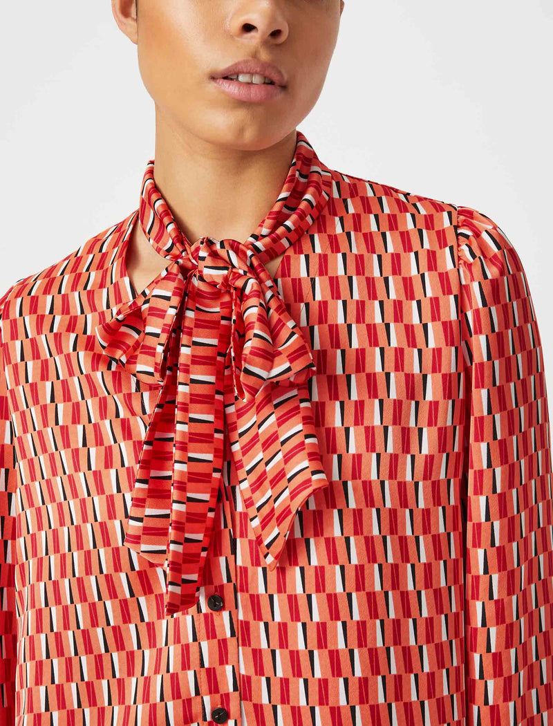 Simone V-Neck Shirt With Scarf - Tangerine Geo Print