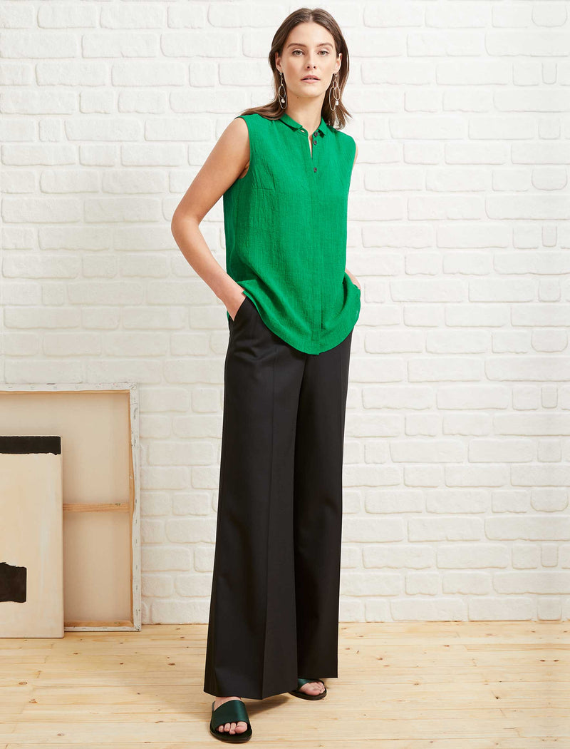 Hailey Sleeveless Shirt - Emerald Green