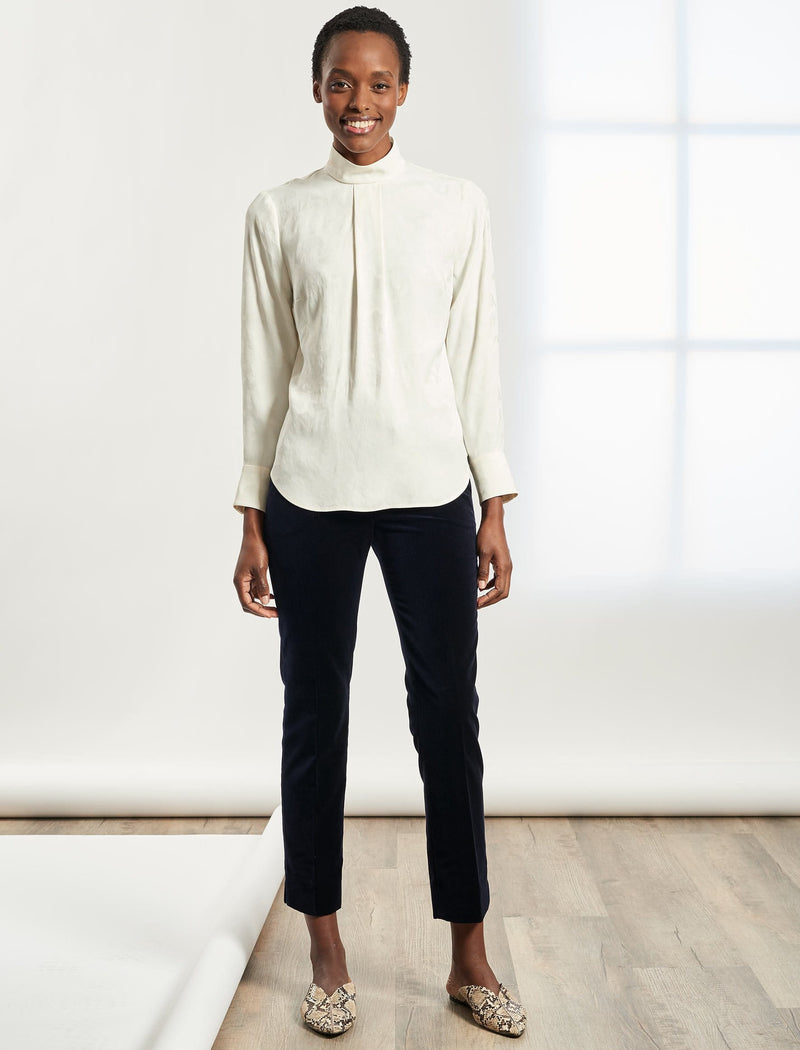 Riley Funnel Neck Blouse - Cream Camo Jacquard