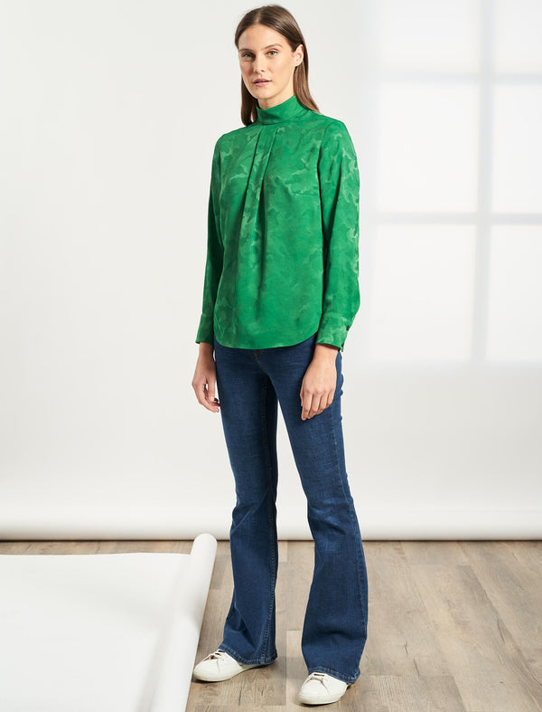 Riley Funnel Neck Blouse - Emerald Green Camo Jacquard