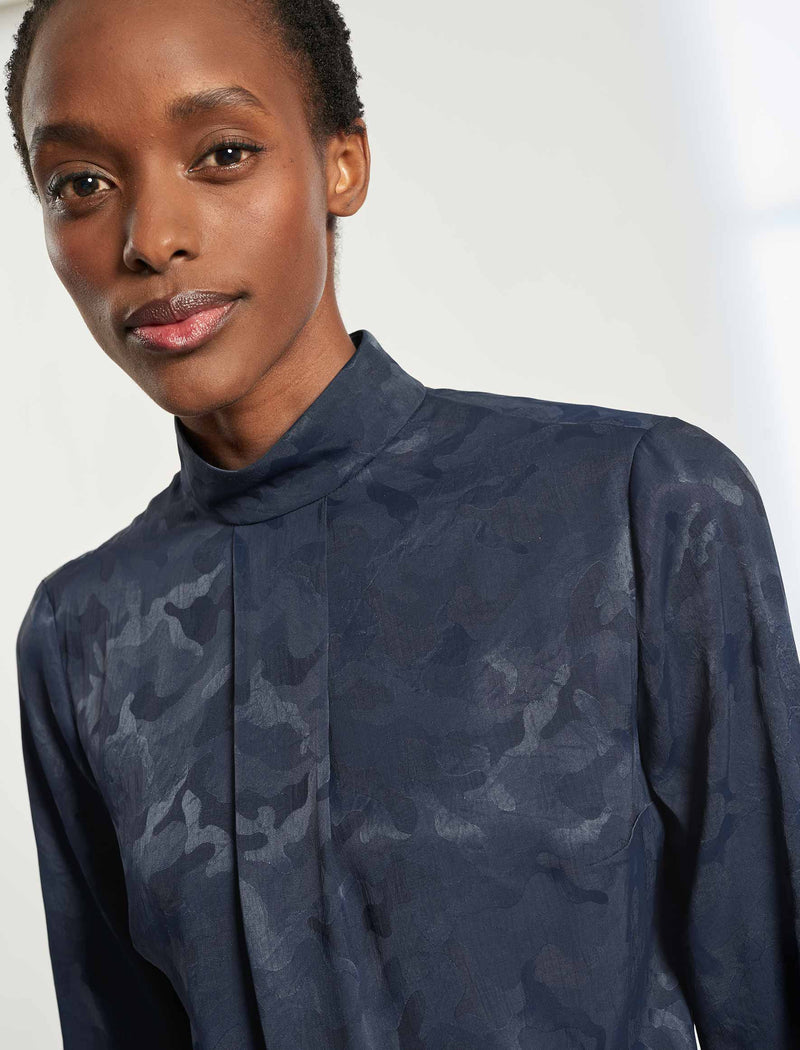 Riley Funnel Neck Blouse - Navy Camo Jacquard