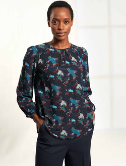 Bronwyn Long Sleeve Button Detail Trapeze Blouse - Navy Spiral Clouds Print