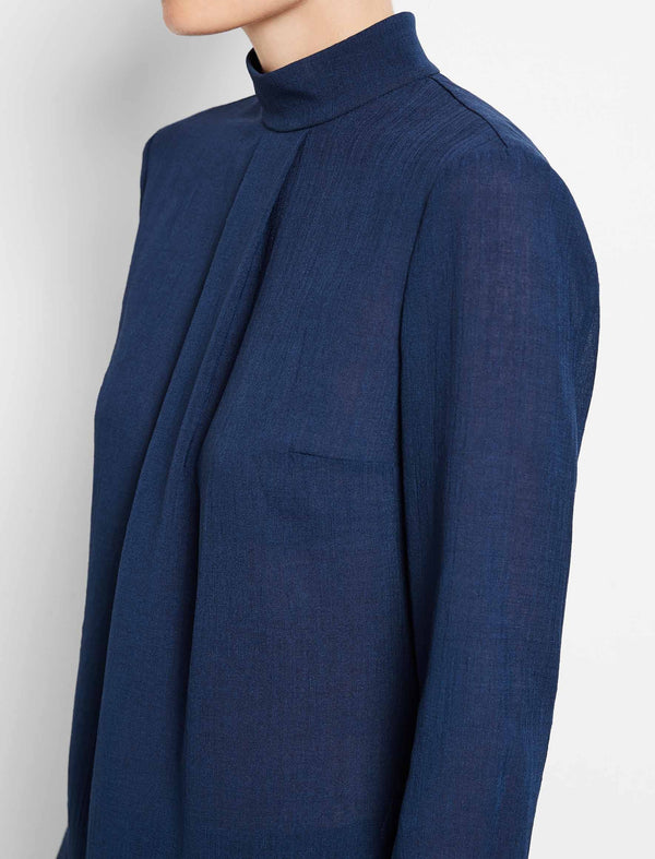Riley Funnel Neck Blouse - Cobalt