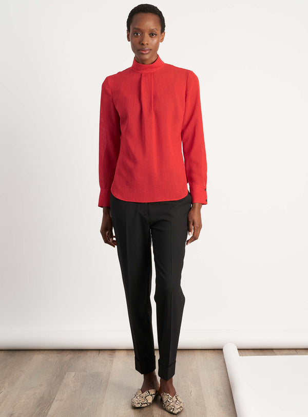 Riley Funnel Neck Blouse - Crimson