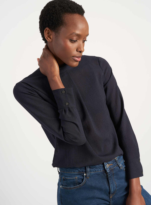 Riley Funnel Neck Blouse - Navy