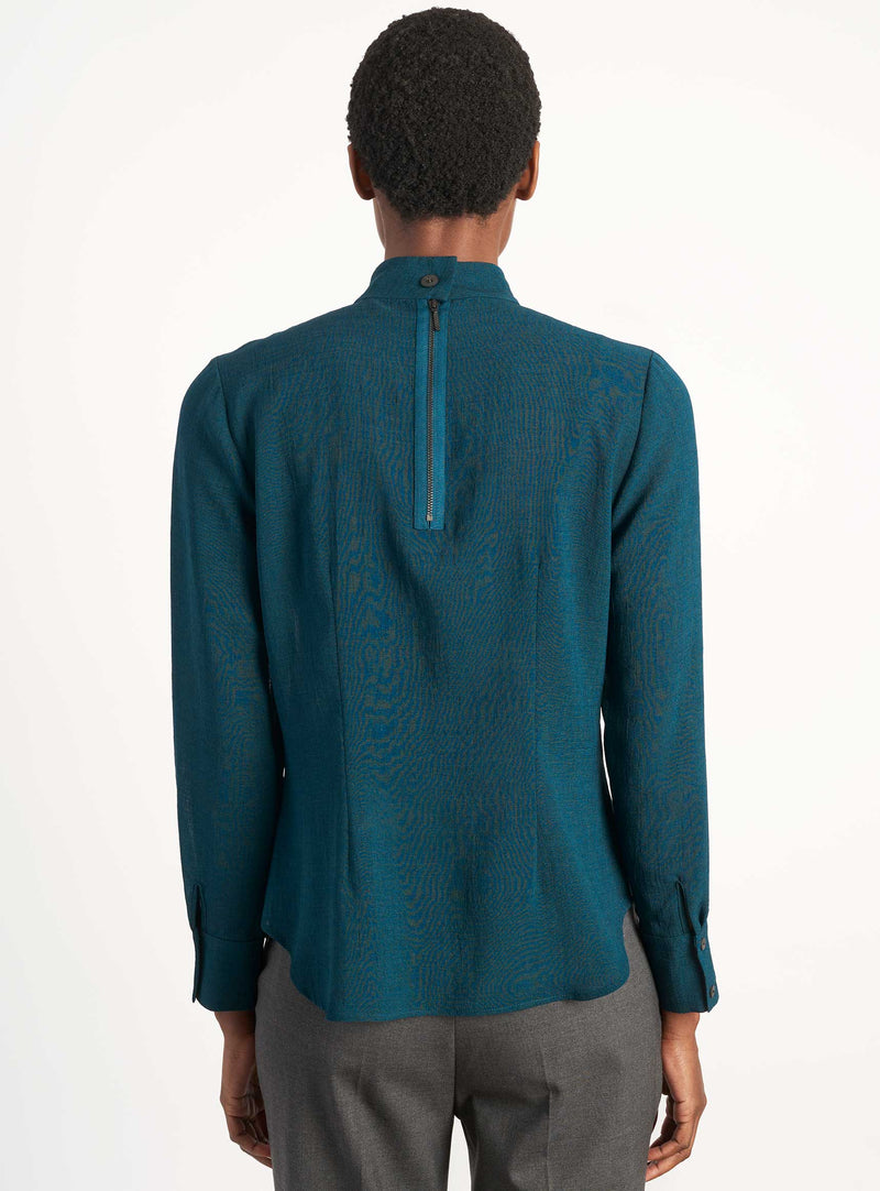 Riley Funnel Neck Blouse - Petrol Blue