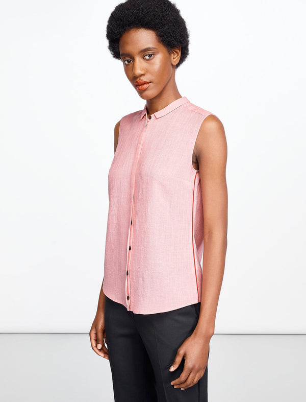 Hailey Sleeveless Shirt With Contrast Piping - Blush