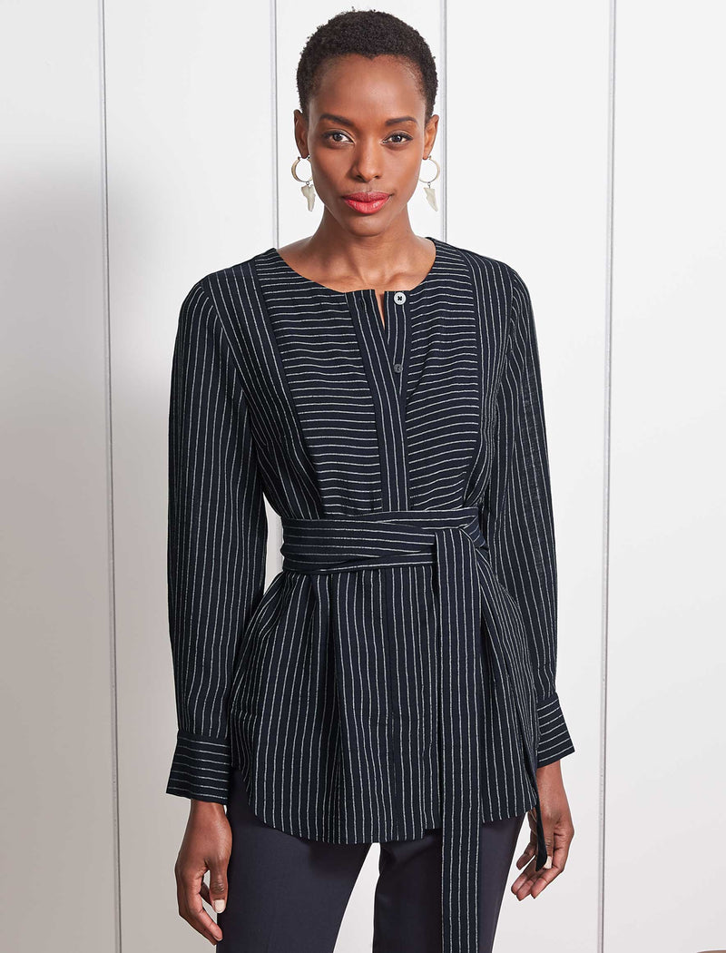 Tabitha Panelled Long Sleeve Shirt With Wide Belt - Navy/White Pinstripe