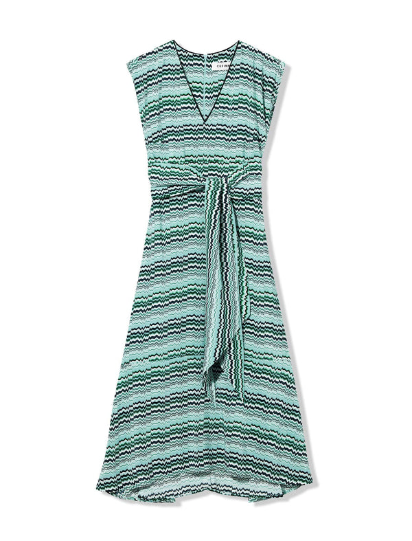 Freya V-Neck Dipped Hem Midi Dress - Mint Chevron